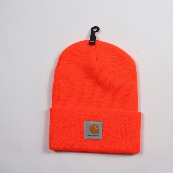 New Carhartt Spell Out Winter Beanie Hat Orange 26963f85159